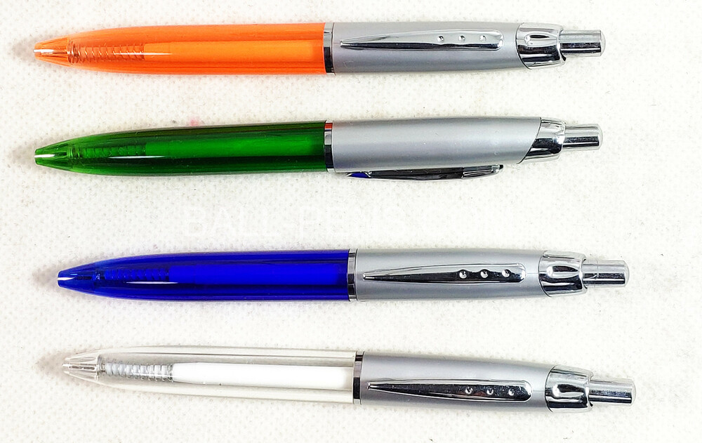 Custom Ballpoint Pens with Metal Clip, Silver Upper Barrel and Translucent Grip Barrel.